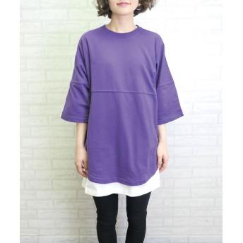 Tシャツ - CORNERS バックロゴライン入り半袖トップス オーバーサイズ ビッグサイズ Tシャツ トレーナー 裏毛 トップス カジュアル スポーティ レディース