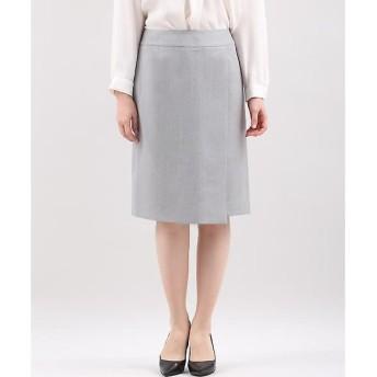 INED L / イネド(エルサイズ) 《大きいサイズ》シルクウールストライプスカート