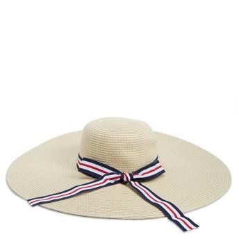 麦わら・ストローハット・カンカン帽 - FOREVER 21 【WOMEN】 【ストライプリボンストローハット】 帽子 ベージュ リゾートカンカン帽 麦わら帽子