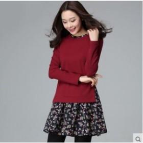 ワンピース 花柄 セーター プリーツ 可愛い 大きいサイズ 春物 長袖 ミニ レディース 女性 赤 ブルー