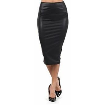 スカート 膝丈 puレザー ペンシル セクシー タイト ミディアム 無地 レディース 女性 黒 ブラック