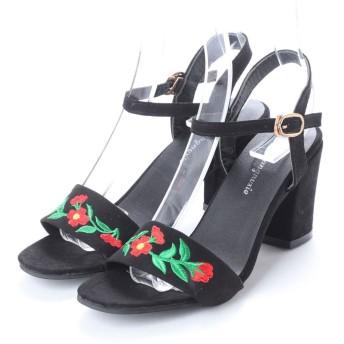 スタイルブロック STYLEBLOCK 花柄刺繍スエード調アンクルストラップチャンキーヒールサンダル (ブラック)