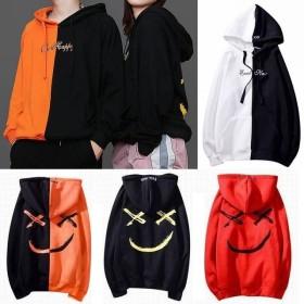 男女兼用 パーカー セパレート スマイル ストリート系 / 18ss printed smiley hoodie loose tied brand men and women
