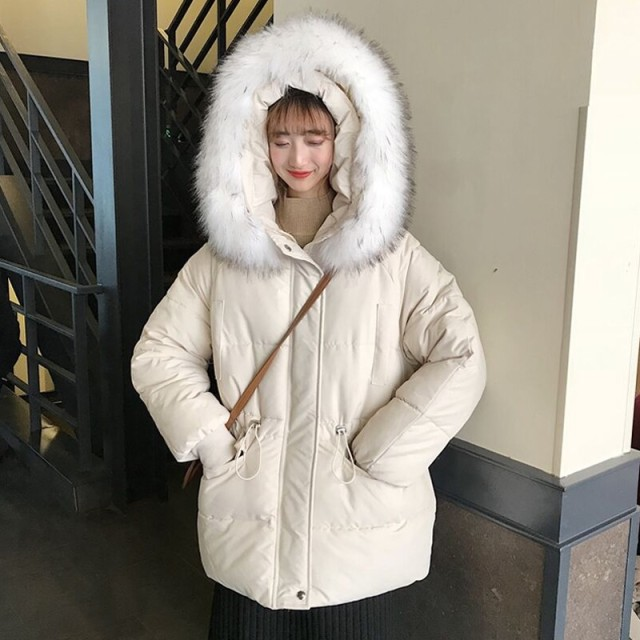 冬のシックな大きな髪の襟コットンジャケット女性2018新しい韓国語バージョン緩い肥厚フード付きコットンコート学生