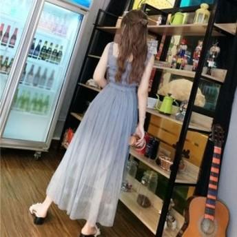 ワンピース ノースリーブ シャーリング ロング丈 シースルー カジュアル パーティー ドレス