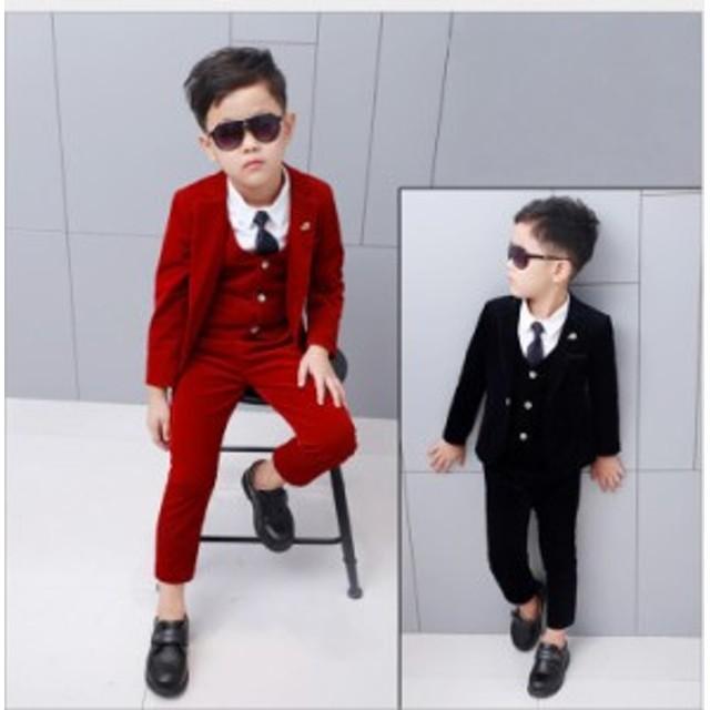 f15b207d228e5 90~150 男の子スーツ キッズスーツ 演奏会 子供服スーツ 3点セット ...
