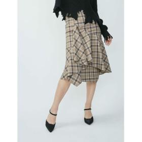 EVRIS チェックオーバーラップスカート