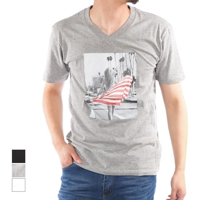 Tシャツ - Style Block MEN Tシャツ カットソー 半袖 Vネック 半袖Tシャツ フォトプリント ガールズプリント 綿 コットン100% トップス メンズ ホワイトブラック 杢グレー 春先行