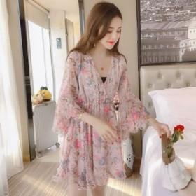 ワンピース シフォン ベルスリーブ ミニ丈 カシュクール 花柄 大人かわいい ドレス 18060825