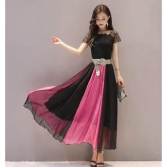 ワンピース 上品シフォンロングドレス 大人可愛いドレス エレガントレースワンピ 18033001