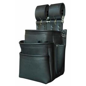 ニックス 総グローブ革チェーンタイプ3段腰袋 ブラック KB-301SPDX
