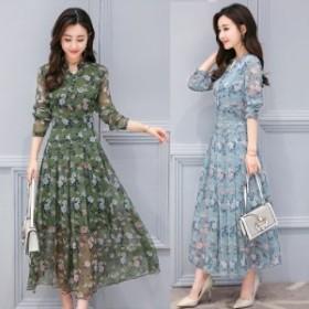 ワンピース 花柄 長袖 ロング丈 マキシ丈 フラワープリント プリーツスカートドレス 18050923
