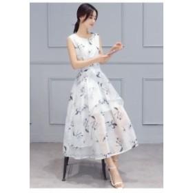 ワンピース 花柄フリルノースリーブワンピース 上品エレガントドレス フェミニンドレス  18040706