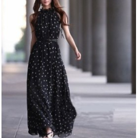 ワンピース ドレス セクシー ゆるふわ ビーチ パーティー 大きいサイズ 夏物 レディース 女性 ノースリーブ マキシ丈 黒 赤