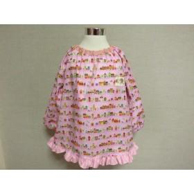 キッズスモック♪#529 ピンク おしゃれな外国のおうち 裾フリル仕上げ 女の子 スモックエプロン