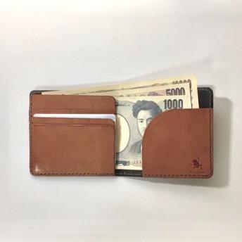 レザーのシンプルお札入れ(ブラック)二つ折り財布☆blu rana☆