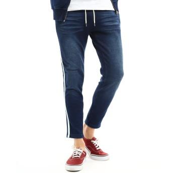 デニムパンツ・ジーンズ - improves デニムパンツ 裏起毛 あったか 暖かい メンズ ラインパンツ サイドライン ジーンズ ジーパン アンクル丈 アンクルパンツウエストゴムカットデニム スウェットパンツ サーフ ストリート インプローブス improves