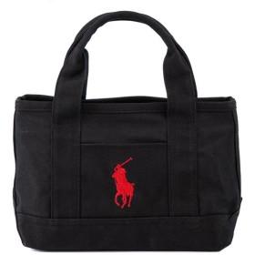 POLO Ralph Lauren ポロ ラルフローレン トートバッグ RAS10147A Small Tote ロゴ刺繍 ビッグポニー 国内正規品 BLACK RED ブラック×レッド