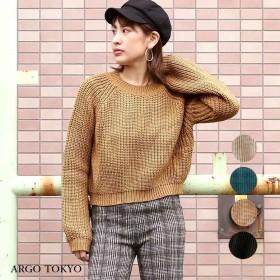 ニット・セーター - argo-tokyo 【ARGO TOKYO 】 【 New!ショート丈&ロングスリーブが可愛い!】ショートニットトップス