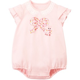 ミキハウス フリルリボンプリント半袖ボディシャツ ピンク