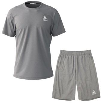 ルコックスポルティフ Tシャツ メンズ ユニセックス 半袖シャツ&ハーフパンツ 上下セット 杢グレー×杢グレー QMMNJA30ZZ-MGR-QMMNJD20ZZ-MGR
