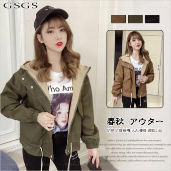レディースファッション コート トレンチコート ジャケット ショート丈 フード付き 格好いい アウトドア 春ファッション