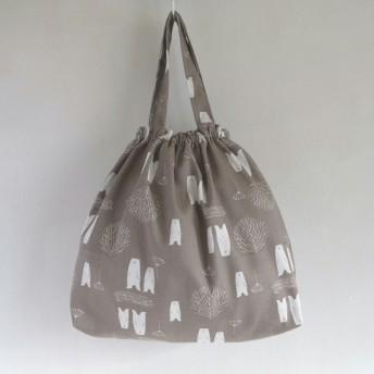 シロクマ☆ゴム口巾着バッグ☆給食袋・お道具入れ・エプロン入れ・上履き入れ・小物入れ・通園バッグ・オムツポーチ・パジャマ袋・体操着袋