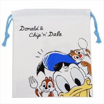 ドナルド&チップ&デール 巾着袋 マチ付き きんちゃくポーチ 2019年 新入学 雑貨 ディズニー 18×21×7cm メール便可