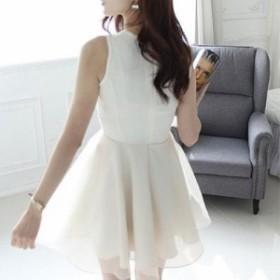 【Sサイズ/ホワイト】ワンピース ドレス ノースリーブ レース 刺繍 ひざ丈 結婚式 エレガント セレブ お呼ばれ フォーマル