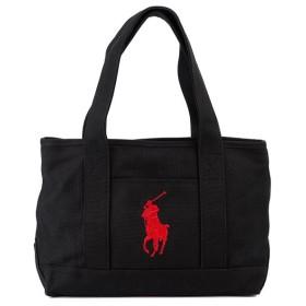POLO Ralph Lauren ポロ ラルフローレン トートバッグ RAS10142A School Tote Medium ロゴ刺繍 ビッグポニー 国内正規品 BLACK RED ブラック×レッド