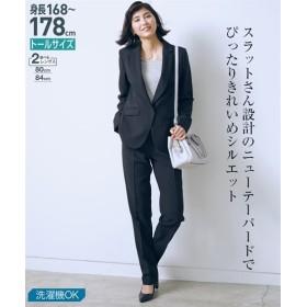 トールサイズ 洗えるテーパードパンツスーツ(股下84cm) 【高身長・長身】オフィススーツ,tall