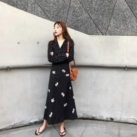 【送料無料】 Fashions← 限定発売 韓国ファッション CHIC気質 レトロ chic可愛い ハイウエスト プリント シフォン ミドルレングススカート