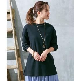 ネックレス付ワッフルロング丈トップス (Tシャツ・カットソー)(レディース)T-shirts