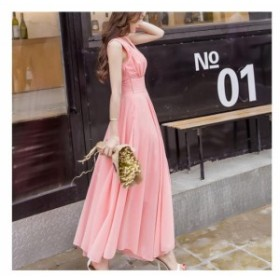 レディース マキシワンピース L リゾートドレス ビーチドレス ピンク