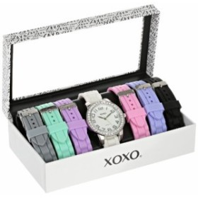 【当店1年保証】クスクスXOXO Women's Analog Watch with Silver-Tone Case, Crystal-Inset Bezel, 7 In