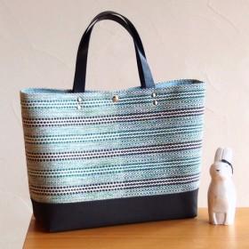 春色ボーダー手織り布のトートバッグ(空色)