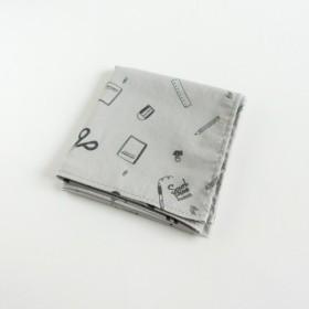 【Sky Gray】大判ハンカチ 文具がいっぱい