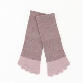 靴下 レディース 5本指ロークルー撚糸ソックス(2足組) 「パウダーピンク」