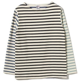 CHANTECLAIR × BEAMS LIGHTS / 別注 クレイジー マルチボーダー バスクシャツ メンズ カットソー ECRU×NAVY M