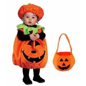 「かぼちゃバッグ付き」 ハロウィン パンプキン キッズコスチューム 男女共用 S544 L 100cm-110cm(オレンジ, L(100cm-110cm))