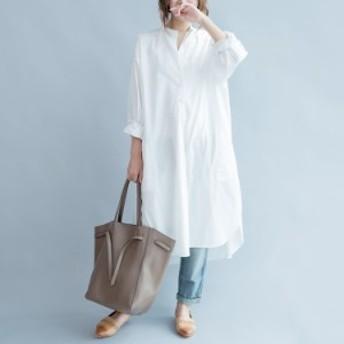シャツワンピース シャツワンピ 春 シャツ ロング丈 ロングシャツ オーバーサイズ ゆったり シンプル 白 2019春新作