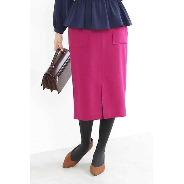 N.Natural Beauty Basic / エヌ ナチュラルビューティーベーシック ウールサキソニーフロントスリットスカート