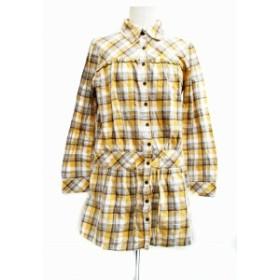 【中古】サンカンシオン 3can4on ワンピース シャツ ミニ 長袖 チェック 3 茶 ブラウン 黄 イエロー 白 ホワイト レディース