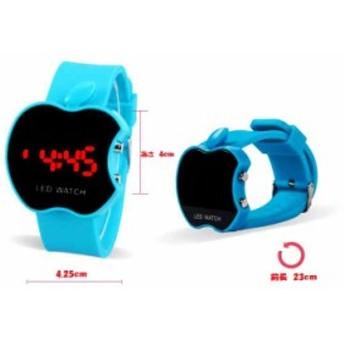 腕時計 時計 ユニセックス アップル リンゴ型 ウォッチ デジタル表示 LED表示 デザインウォッチ シリコン ラバー (水色)