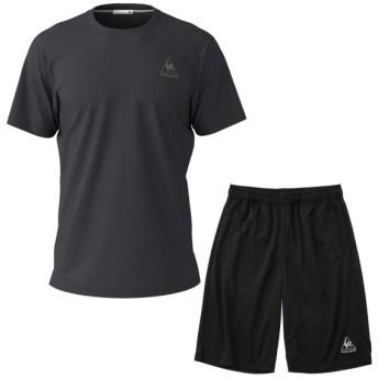 ルコックスポルティフ Tシャツ メンズ ユニセックス 半袖シャツ&ハーフパンツ 上下セット ブラック×ブラック QMMNJA30ZZ-BLK-QMMNJD20ZZ-BLK