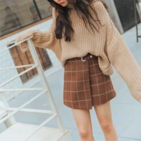 レディース チェック 柄 スカート ミニ丈 巻きスカート風 Aライン ブラウン M