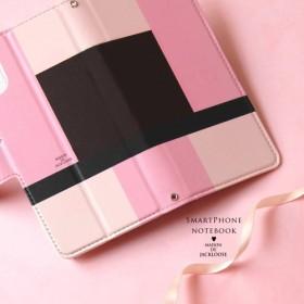 【スマホケース手帳型】上品なトリコロールピンク・モンドリアン調 iPhone Xperia AQUOS ほぼ全機種対応