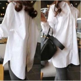 ホワイト XLサイズ ビッグシルエット シンプル シャツ バック ジップ スタイル