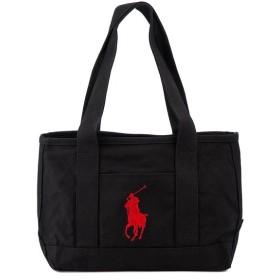 POLO Ralph Lauren ポロ ラルフローレン トートバッグ RAS10154A Medium Tote ロゴ刺繍 ビッグポニー 国内正規品 BLACK RED ブラック×レッド