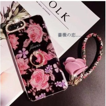 iPhone6 Plus iPhone6 プラス ケース 花模様 iPhone6Plus ケース アイフォン6プラス 薔薇の恋 ストラップ スタンドリンクつき キラキラ